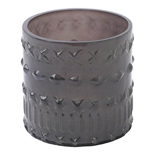 Hallmark Home Decorative Grey Glass Votive Holder, Cross Pattern - Antler Pillar Hurricane