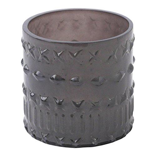 Hallmark Home Decorative Grey Glass Votive Holder, Cross Pattern