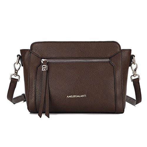 AMELIE GALANTI Crossbody Bags Top Zip Purse Multi Pocket Cute Shoulder Bag (Coffee) ()