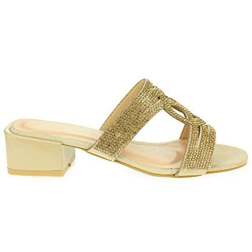 Enfiler Bas Mariage Confort Dames Talons mariée Soir Taille Or Cristal Sandales de De Femmes Chaussures Fête à Bal w4Rfxwqv