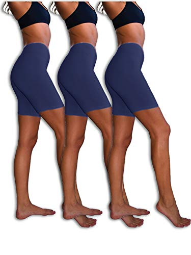 Sexy Basics Womens 3 Pack Sheer & Sexy Cotton Spandex Boyshort Yoga Bike Shorts (3XL-10, 3 Pack - Deep Navy)