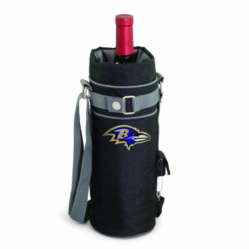 (NFL Baltimore Ravens Insulated Single Bottle Wine Sack with Corkscrew)