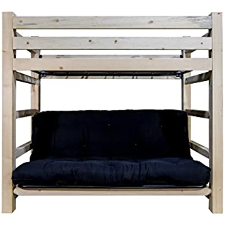 Montana Woodworks Homestead Collection Twin Bunk Bed Over Full Futon Frame With Mattress Ready To Finish
