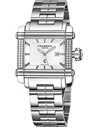 Actor Rectangular Womens Stainless Steel Diamond Watch - Silver Face with Luminous Hands, Date and