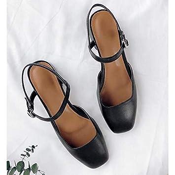 e9375b8c ZHZNVX Zapatos de Mujer Nappa Leather Summer Bomba básica Tacones Chunky  Heel Blanco/Negro / Marrón: Amazon.es: Deportes y aire libre