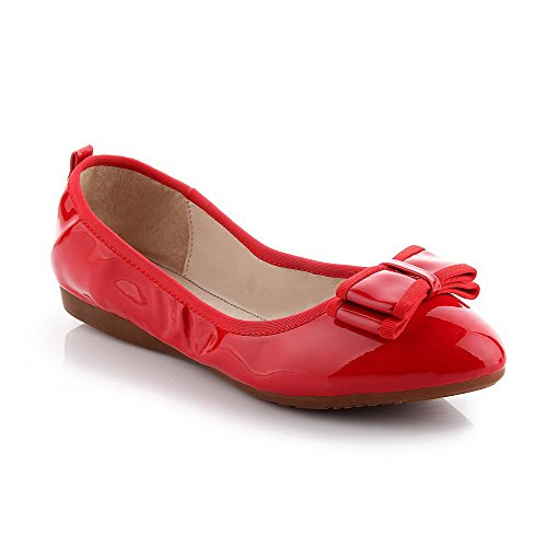 Women's Pull Red Heels Low Closed Solid PU Pointed Pumps Shoes Toe WeenFashion on ZRSxdqwRa
