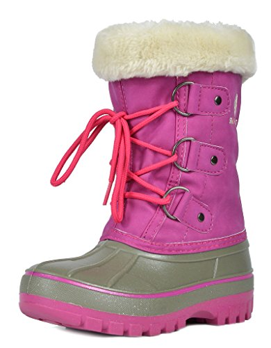 DREAM PAIRS Little Kid Forester Grey Pink Ankle Winter Snow Boots Size 13 M US Little - Snow Boots Pink Winter