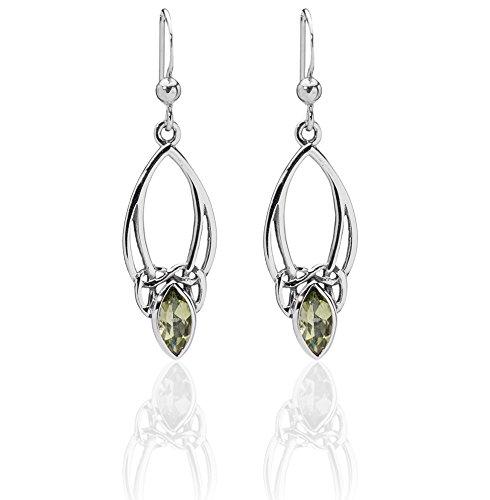 DTPsilver - Boucles d'oreilles en Argent Fin 925 avec Peridot - Collection Celtique