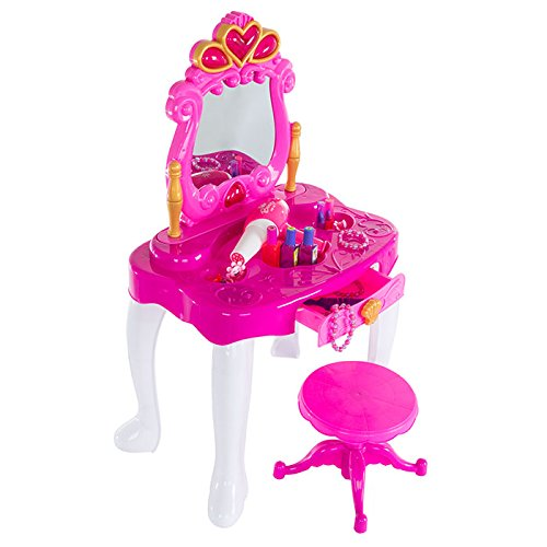 Deluxe Princess Vanity Set with Stool, Accessories, Lights, & Sound - 17 Peice Pretend Play Set! by Deluxe (Image #4)