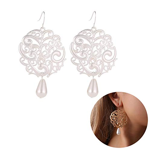 Retro Palace National Wind Hollow Round Dangle Earrings Simulated Pearl Water Drop Carved Flower Earring for Women Jewelry (Silver)
