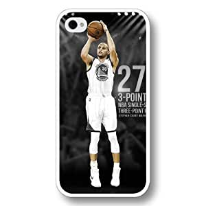 UniqueBox- Customized Personalized White Hard Plastic iPhone 4/4S Case, NBA Golden State Warriors Superstar Stephen Curry iPhone 4/4S case, Only Fit iPhone 4/4S case