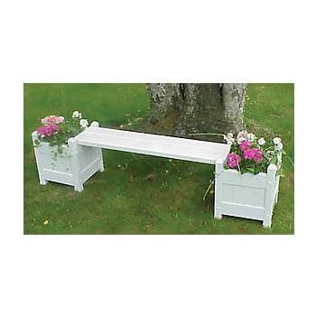 Outdoor Planter Bench Amazon vinyl planter bench with planters home kitchen vinyl planter bench with planters workwithnaturefo