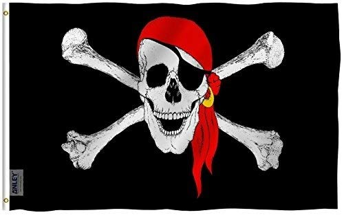 Anley [Fly Breeze 3x5 Foot Jolly Roger Flag with Red Bandana