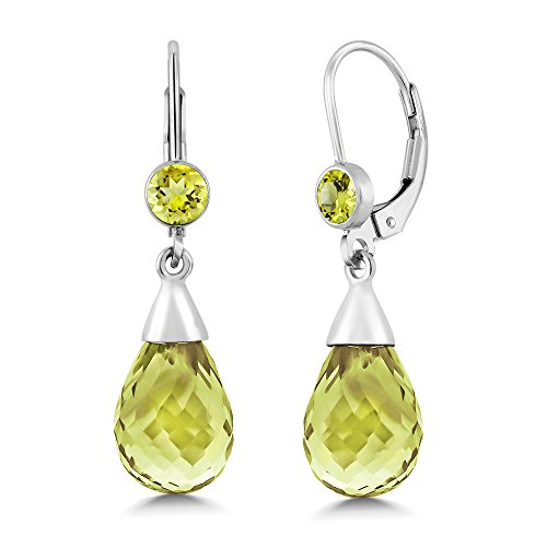 10.00 Ctw Briolette Lemon Quartz 925 Sterling Silver Drop (Lemon Quartz Earrings)