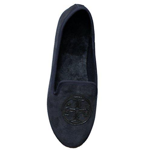 Tory Burch Billy Slipper Split Suede Leather Mirror Craqulee Logo (8, Navy Blue)