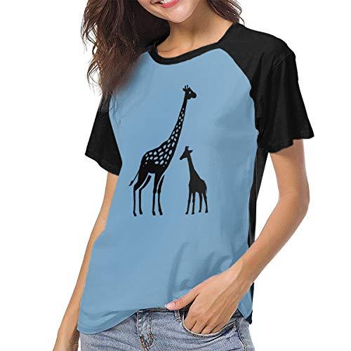 Designer Station Giraffe Women's Raglan Short Sleeve Crew Neck Baseball Tee Black]()