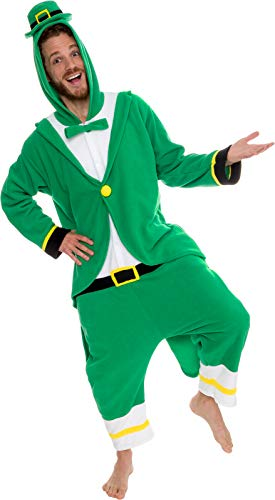 Silver Lilly Leprechaun Unisex Adult Pajamas - Plush One Piece Cosplay Holiday Costume (Green, M) -