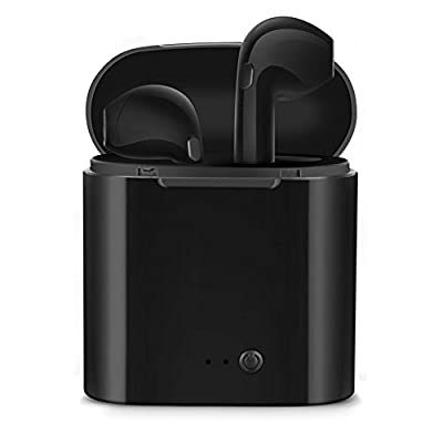 Bluetooth Headphones,bonsalay Wireless Headphones Stereo in-Ear Earpieces with 2 Wireless Built-in Mic Earphone and Charging Case for Most Smartphones-Black18