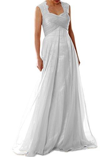 MACloth Women Lace Straps Chiffon Long Bridesmaid Dress Formal Evening Gown (18w, White)
