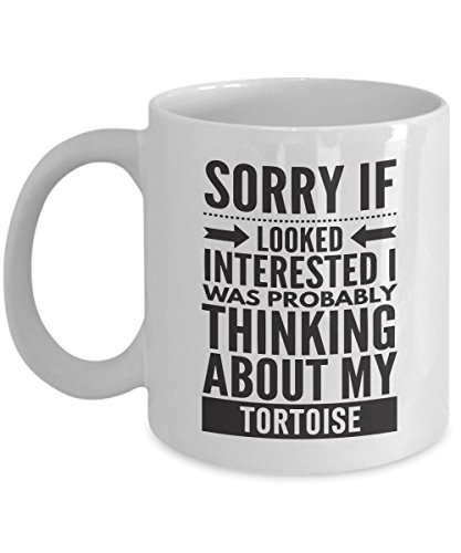 Tortoise Mug - Sorry If Looked Interested I Was Probably Thinking About - Funny Novelty Ceramic Coffee & Tea Cup Cool Gifts For Men Or Women With Gift Box (Zoomed Tortoise Food)