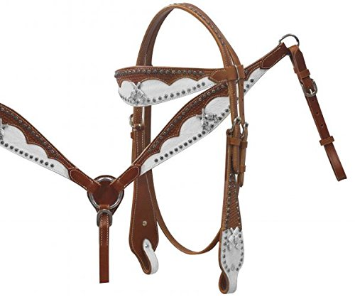 Leather headstall and breast collar set Guns ()