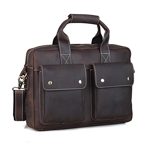 Tiding Men's Cowhide Leather Briefcase