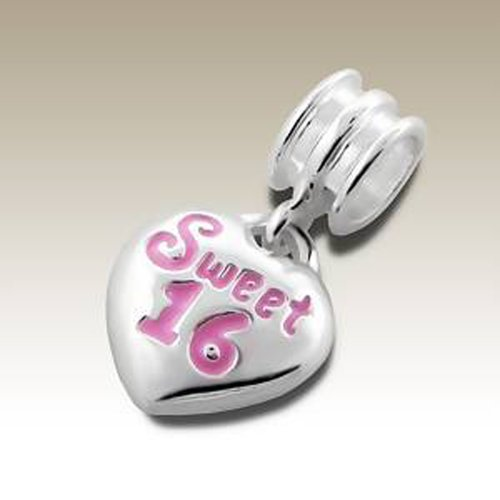 Number 16 Bead Charm Dangle 925 Sterling Silver Sweet 16 Pink Epoxy Color for Charm Bracelets (E11178)