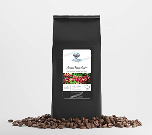 (Specialty Brazilian Medium Roast whole bean coffee - 12 OZ. Roasted medium to deliver hints of dark chocolate, honey and creamy butterscoth finish.Perfect for any occasion.)