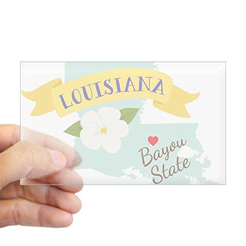 (CafePress Louisiana Bayou State Outline Magnolia Flower Stic Rectangle Bumper Sticker Car Decal)