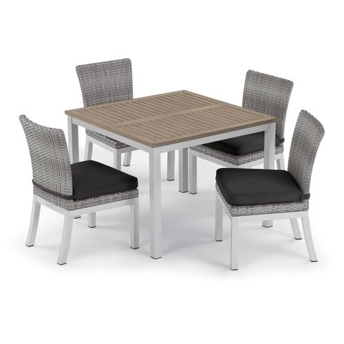 Oxford Garden Travira 5 -Piece 39-Inch Dining Table and Argento Side Chair Set - Powder Coated Aluminum Frame - Resin Wicker Argento Chair - Tekwood Vintage Table Top - Jet Black Cushions (Side Classic Garden Oxford Chair)