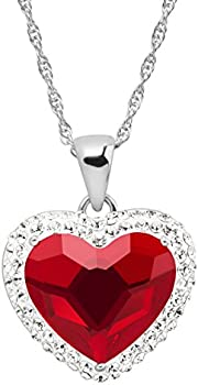 Crystaluxe Red Heart Halo Pendant Necklace