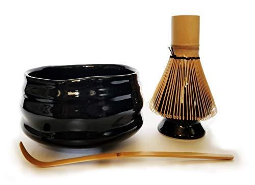 HARU MATCHA - Complete Matcha Tea Ceremony Gift Set - Black Matcha Chawan Bowl, Golden Bamboo Scoop (Chashaku), Bamboo Whisk (100 tate), and Black Whisk Holder by Haru Matcha