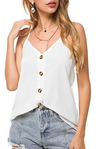(Aixy Women's Casual Spaghetti Strap Button Down Shirt V Neck Sleeveless Blouses Tank Tops,White,M)