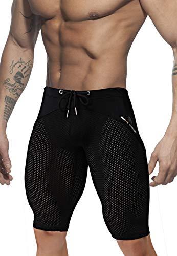 Men's Cool Soft Dry Compression Workout Yoga Mesh Capri Tights ()