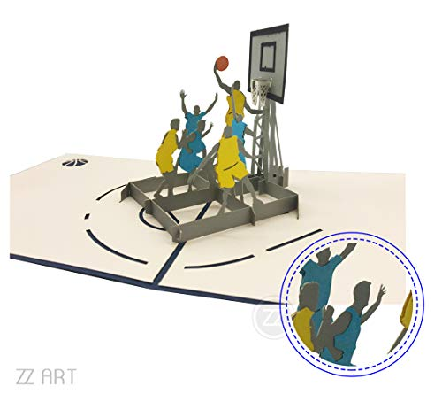 Basketball 3D PopUp greeting card, cool Sports Pop Up Card, NBA greeting card for boy's  Birthday, Valentine's Day, friendship, family affection, Father's day, Anniversary, Birthday invitations (Valentines Cards Day Basketball)