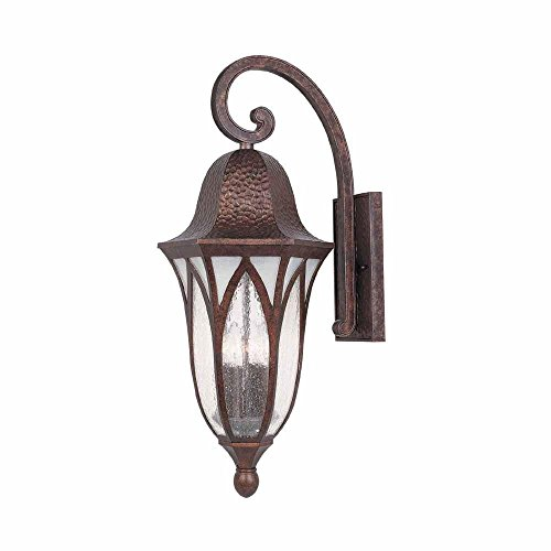 World Imports 11 in. Burnished Antique Copper Outdoor Wall Sconce with Clear Seedy Glass