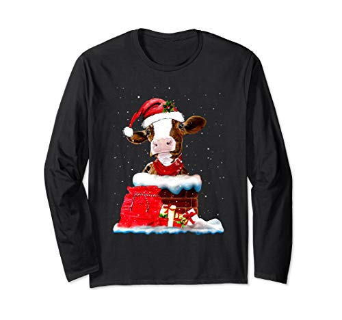 Cow Decoration with chimney & gift - Christmas Softball Tee]()