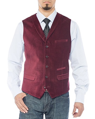 LN LUCIANO NATAZZI Men's Shawl Lapel Velvet Waistcoat Modern Fit Dress Suit Vest (38 US / 48 EU = Small, Burgundy) ()