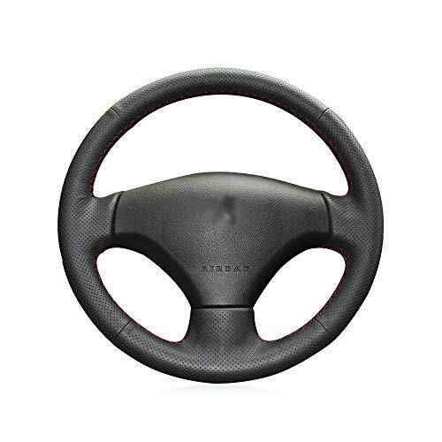 KDKDKLMB steering wheel cover Black Genuine Leather Car Steering Wheel Cover for Peugeot 206 2007-2009 Peugeot 207 Citroen C2: