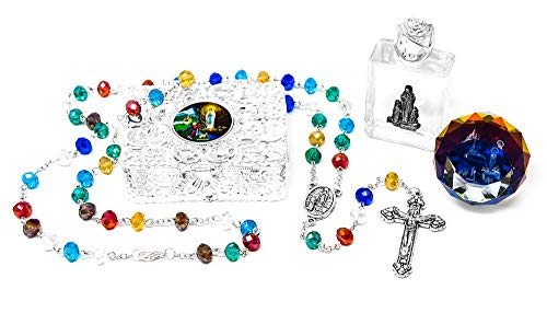Catholic Gift Set, Bottle of Holy Water Blessed in Lourdes, Apparition Paperweight, Crystal Rosary Beads/Chaplets, Silver Rosary ()