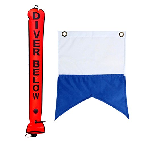 Homyl High Visibility 4FT Scuba Diving SMB Surface Marker Buoy Safety Sausage Tube with Dive Boat Flag Banner