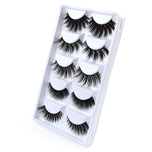Eyelashes Extension Set,DDKK 5 Pair Luxury 3D False Lashes Fluffy Strip Eyelashes Long Natural Party]()