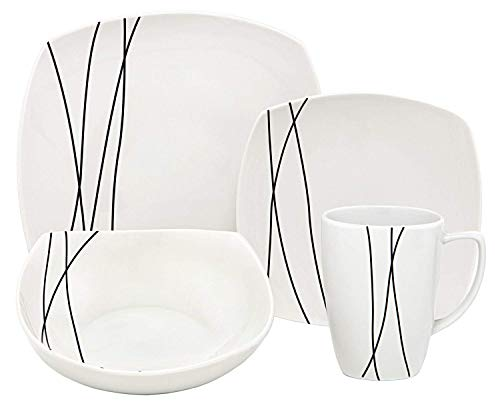 (Melange 16 Piece Square Porcelain Dinner Set (Black Lines)| Service for 4 | Microwave, Dishwasher & Oven Safe | Dinner Plate, Salad Plate, Soup Bowl & Mug (4 Each))