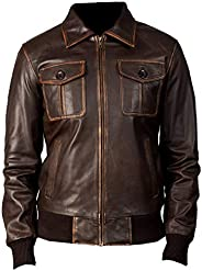 VearFit Bomber Rub Off Brown Real Leather Jacket for Fashionable Men
