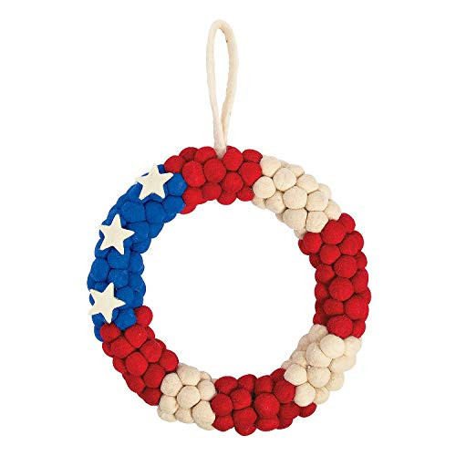 Fun Express - Patriotic Pom Pom Wreath for Fourth of July - Home Decor - Decorative Accessories - Wall Decor - Fourth of July - 1 Piece
