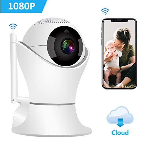Wireless IP Camera 1080P, LAMOE Indoor Security Camera 32 ft Night Vision & Two-Way Audio, 2.4GHz FHD WiFi Camera, 3D Navigation Panorama View Motion Detection Camera- Cloud Storage (Grey/1080P)