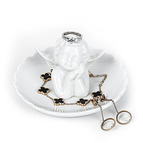 Sangyn Ceramic Cupid Angel Jewelry Ring Holder Dish Collect Organizer Plate Trinket Tray Home Décor