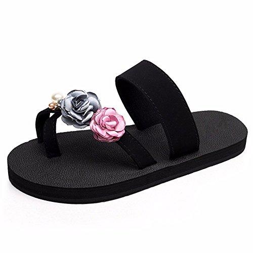 zapatos antideslizante flores zapatillas seaside de señoras cool plano clip casual beach pies moda FLYRCX Fondo dulce chanclas b vfnwxtfpBq