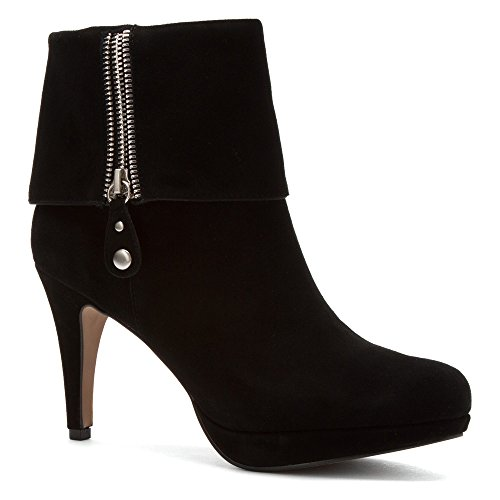 ADRIENNE VITTADINI Womens Poppers Heeled Ankle Boots Black