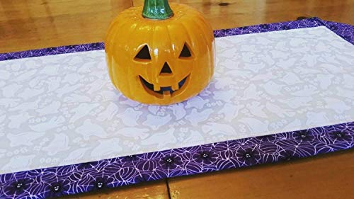 Halloween Spider and Ghost Table Runner, Halloween Table Toppers, Ghosts, Boo, Spiders, Spiders Web, Spooky Tablescape, Halloween Dinner Party Table Decor, Classic Halloween Home -